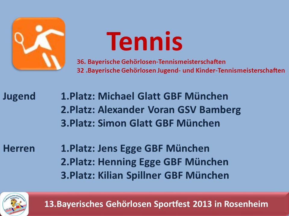 13.Bayerisches Gehörlosen Sportfest 2013 in Rosenheim Jugend1.Platz: Michael Glatt GBF München 2.Platz: Alexander Voran GSV Bamberg 3.Platz: Simon Gla