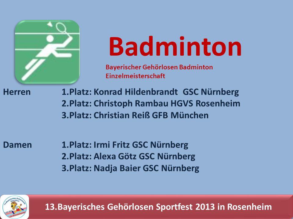 Herren 1.Platz: Konrad Hildenbrandt GSC Nürnberg 2.Platz: Christoph Rambau HGVS Rosenheim 3.Platz: Christian Reiß GFB München Badminton Damen1.Platz: