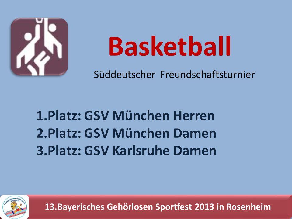 13.Bayerisches Gehörlosen Sportfest 2013 in Rosenheim 1.Platz: GSV München Herren 2.Platz: GSV München Damen 3.Platz: GSV Karlsruhe Damen Basketball S
