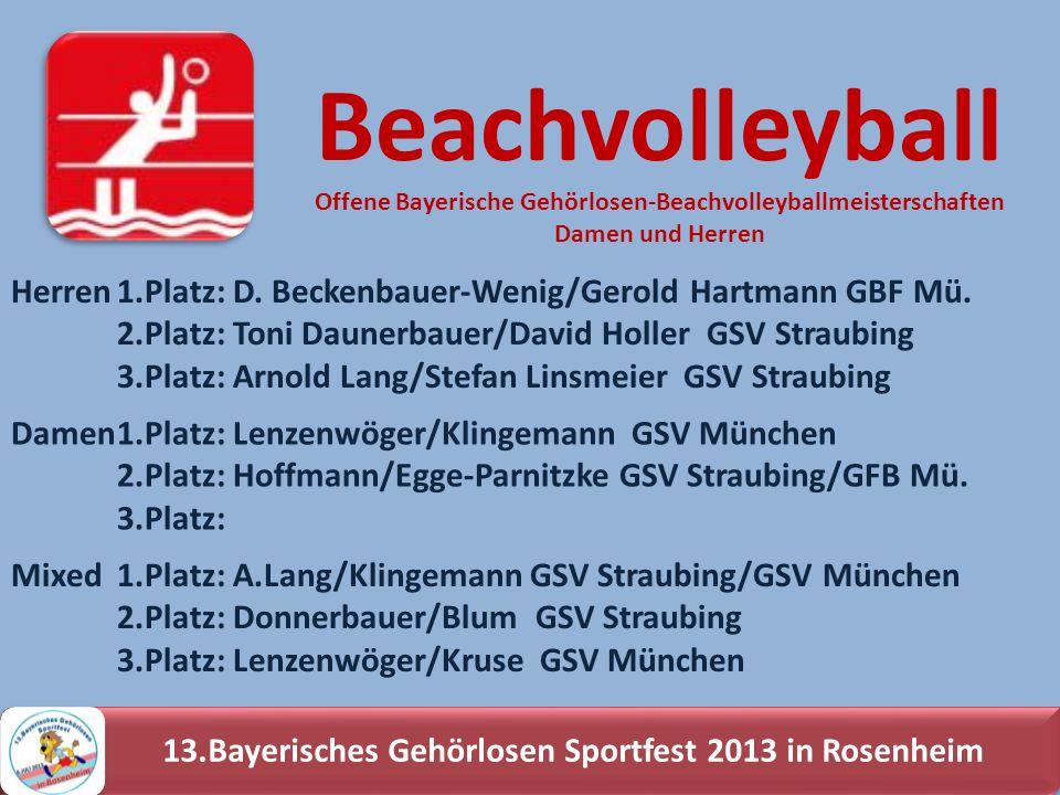 13.Bayerisches Gehörlosen Sportfest 2013 in Rosenheim Herren1.Platz: D. Beckenbauer-Wenig/Gerold Hartmann GBF Mü. 2.Platz: Toni Daunerbauer/David Holl