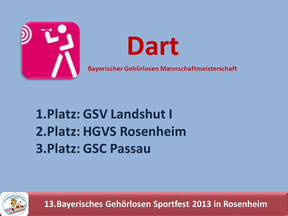 13.Bayerisches Gehörlosen Sportfest 2013 in Rosenheim 1.Platz: GSV Landshut I 2.Platz: HGVS Rosenheim 3.Platz: GSC Passau Dart Bayerischer Gehörlosen