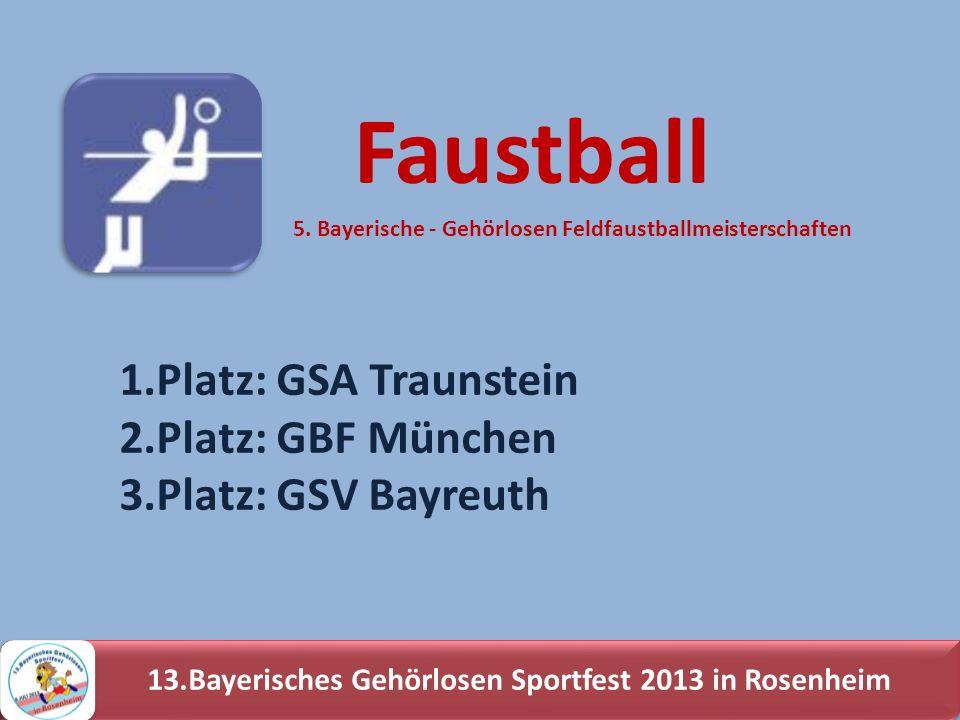 13.Bayerisches Gehörlosen Sportfest 2013 in Rosenheim 1.Platz: GSA Traunstein 2.Platz: GBF München 3.Platz: GSV Bayreuth Faustball 5. Bayerische - Geh