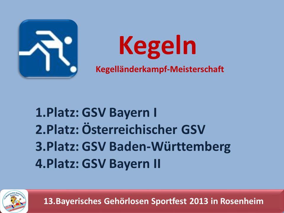 13.Bayerisches Gehörlosen Sportfest 2013 in Rosenheim 1.Platz: GSV Bayern I 2.Platz: Österreichischer GSV 3.Platz: GSV Baden-Württemberg 4.Platz: GSV