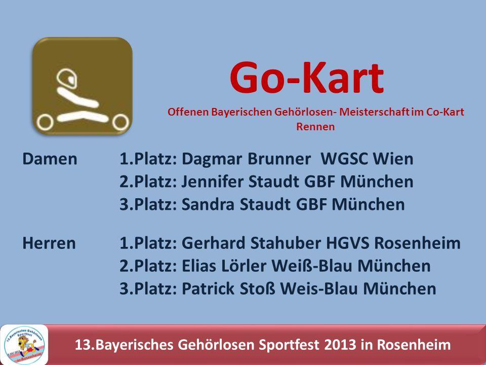 13.Bayerisches Gehörlosen Sportfest 2013 in Rosenheim Damen 1.Platz: Dagmar Brunner WGSC Wien 2.Platz: Jennifer Staudt GBF München 3.Platz: Sandra Sta