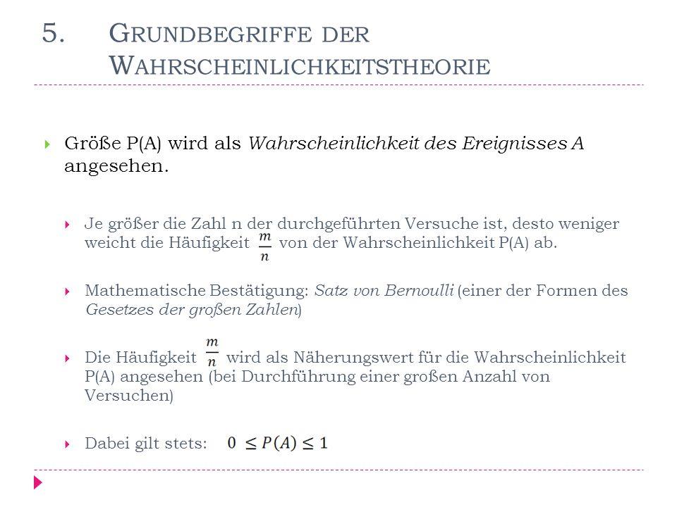 3.5 G RUNDBEGRIFFE DER W AHRSCHEINLICHKEITSTHEORIE Annahme: Wahrscheinlichkeiten P(A) bzw.