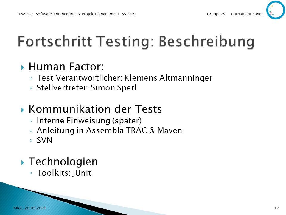 188.403 Software Engineering & Projektmanagement SS2009 Gruppe25: TournamentPlaner Human Factor: Test Verantwortlicher: Klemens Altmanninger Stellvert