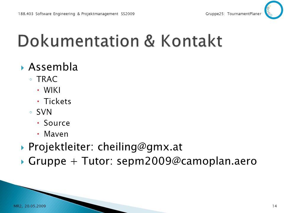 188.403 Software Engineering & Projektmanagement SS2009 Gruppe25: TournamentPlaner Assembla TRAC WIKI Tickets SVN Source Maven Projektleiter: cheiling