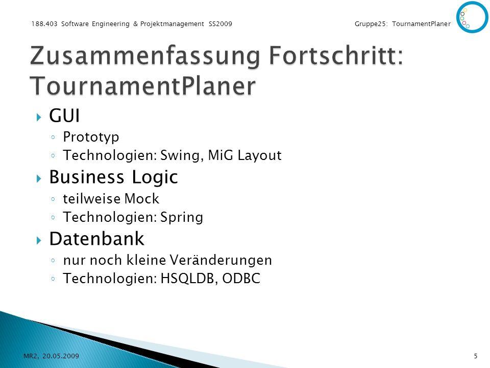 188.403 Software Engineering & Projektmanagement SS2009 Gruppe25: TournamentPlaner GUI Prototyp Technologien: Swing, MiG Layout Business Logic teilweise Mock Technologien: Spring Datenbank nur noch kleine Veränderungen Technologien: HSQLDB, ODBC MR2, 20.05.20095