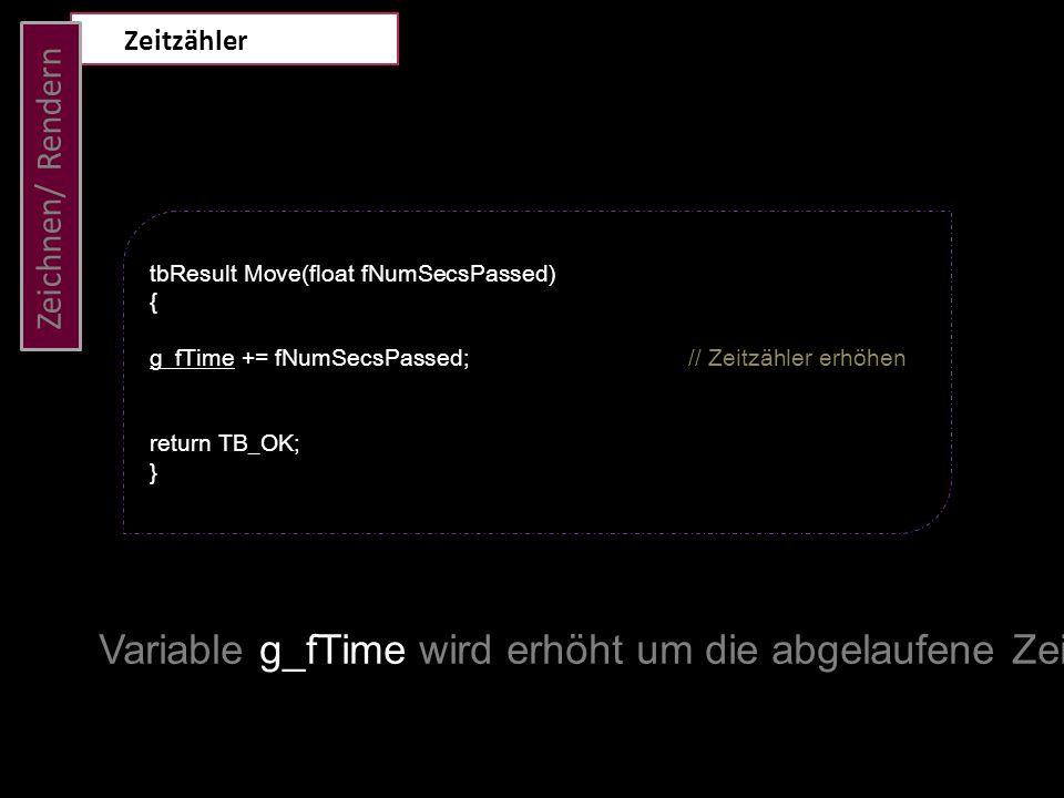Zeichnen/ Rendern Zeitzähler tbResult Move(float fNumSecsPassed) { g_fTime += fNumSecsPassed; // Zeitzähler erhöhen return TB_OK; } Variable g_fTime w