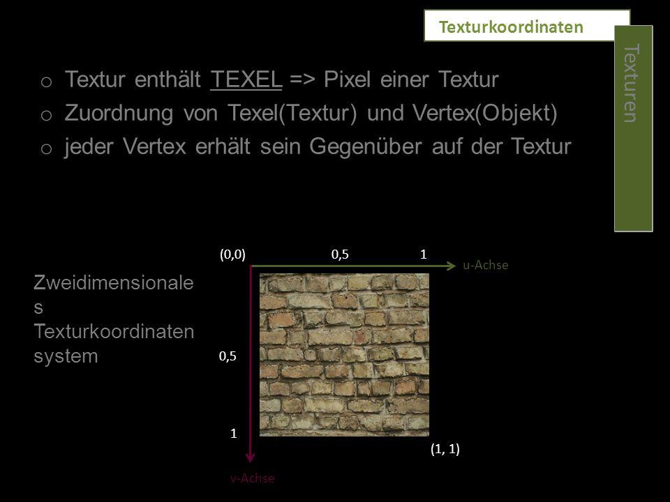 o Textur enthält TEXEL => Pixel einer Textur o Zuordnung von Texel(Textur) und Vertex(Objekt) o jeder Vertex erhält sein Gegenüber auf der Textur (0,0