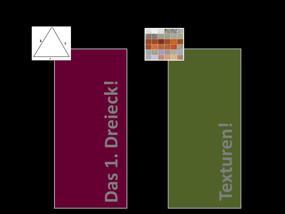 Initialisierung der Szene Definition des Dreiecks(Art, Größe, Farbe..) Definition des Rahmens(Sichtfeld,, 3D-Effekt, Beleuchtung, Dithering..) Zeichenvorgang Position und Verhalten des Dreiecks(Ausrichtung, Entfernung, Rotation) Eigentlicher Zeichenvorgang Das 1.