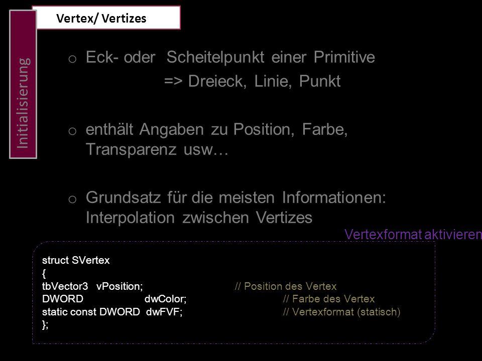 Initialisierung Dreieck definieren Svertext g_aTriangleVertex[3];//Globale Variable g_aTriangleVertex[0].vPosition = tbVector3 ( 0.0f, 1.0f, 0.0f); // oben g_aTriangleVertex[1].vPosition = tbVector3 ( 1.0f, -1.0f, 0.0f); // rechts unten g_aTriangleVertex[2].vPosition = tbVector3 ( -1.0f, -1.0f, 0.0f);// links unten g_aTriangleVertex[0].
