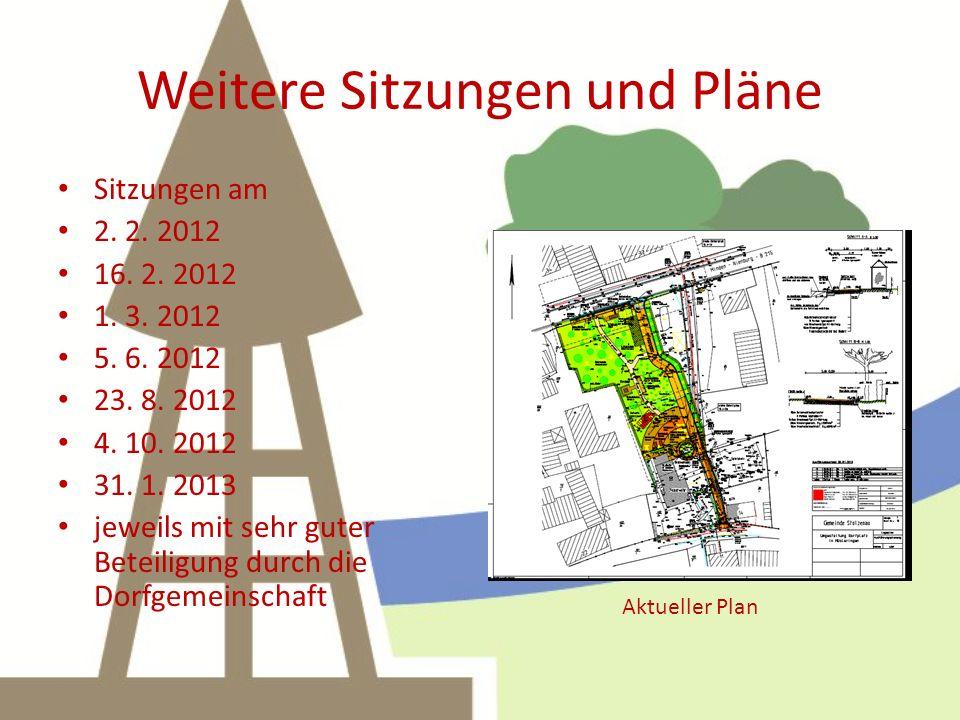 Weitere Sitzungen und Pläne Sitzungen am 2. 2. 2012 16. 2. 2012 1. 3. 2012 5. 6. 2012 23. 8. 2012 4. 10. 2012 31. 1. 2013 jeweils mit sehr guter Betei