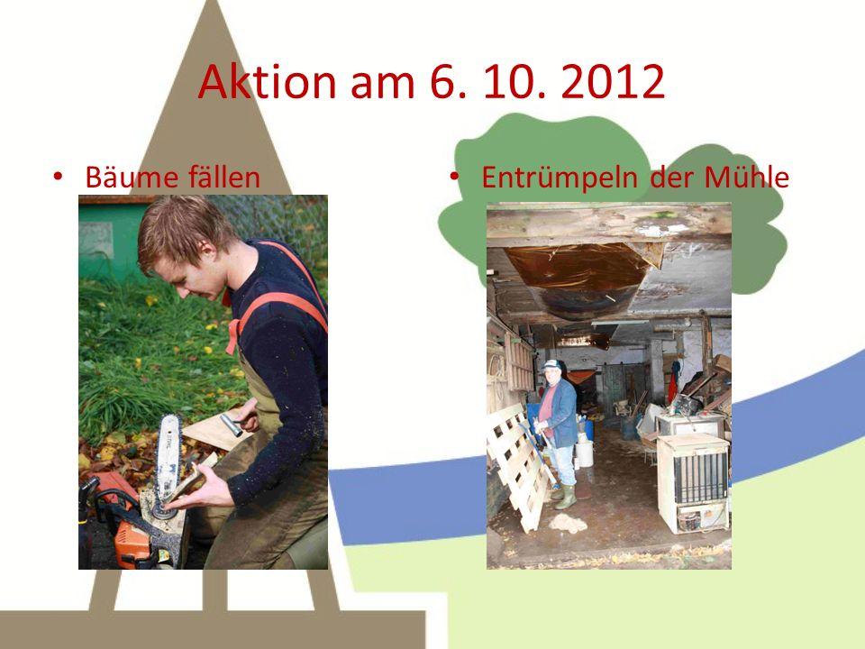 Aktion am 6. 10. 2012 Bäume fällen Entrümpeln der Mühle