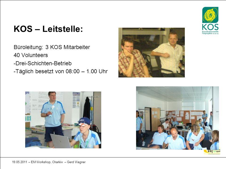 19.05.2011 – EM Workshop, Charkiw – Gerd Wagner KOS – Leitstelle: Büroleitung: 3 KOS Mitarbeiter 40 Volunteers -Drei-Schichten-Betrieb -Täglich besetz