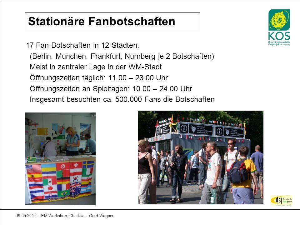 19.05.2011 – EM Workshop, Charkiw – Gerd Wagner Stationäre Fanbotschaften 17 Fan-Botschaften in 12 Städten: (Berlin, München, Frankfurt, Nürnberg je 2