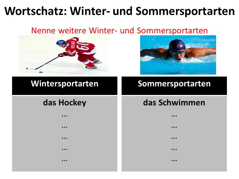 Wortschatz: Winter- und Sommersportarten Nenne weitere Winter- und Sommersportarten Wintersportarten das Hockey … Sommersportarten das Schwimmen …