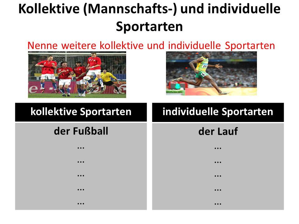 Kollektive (Mannschafts-) und individuelle Sportarten Nenne weitere kollektive und individuelle Sportarten kollektive Sportarten der Fußball … individ
