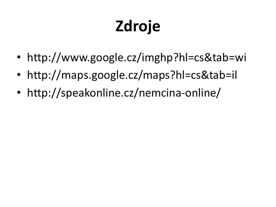 Zdroje http://www.google.cz/imghp?hl=cs&tab=wi http://maps.google.cz/maps?hl=cs&tab=il http://speakonline.cz/nemcina-online/