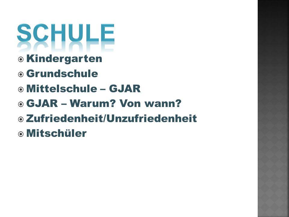 Kindergarten Grundschule Mittelschule – GJAR GJAR – Warum? Von wann? Zufriedenheit/Unzufriedenheit Mitschüler