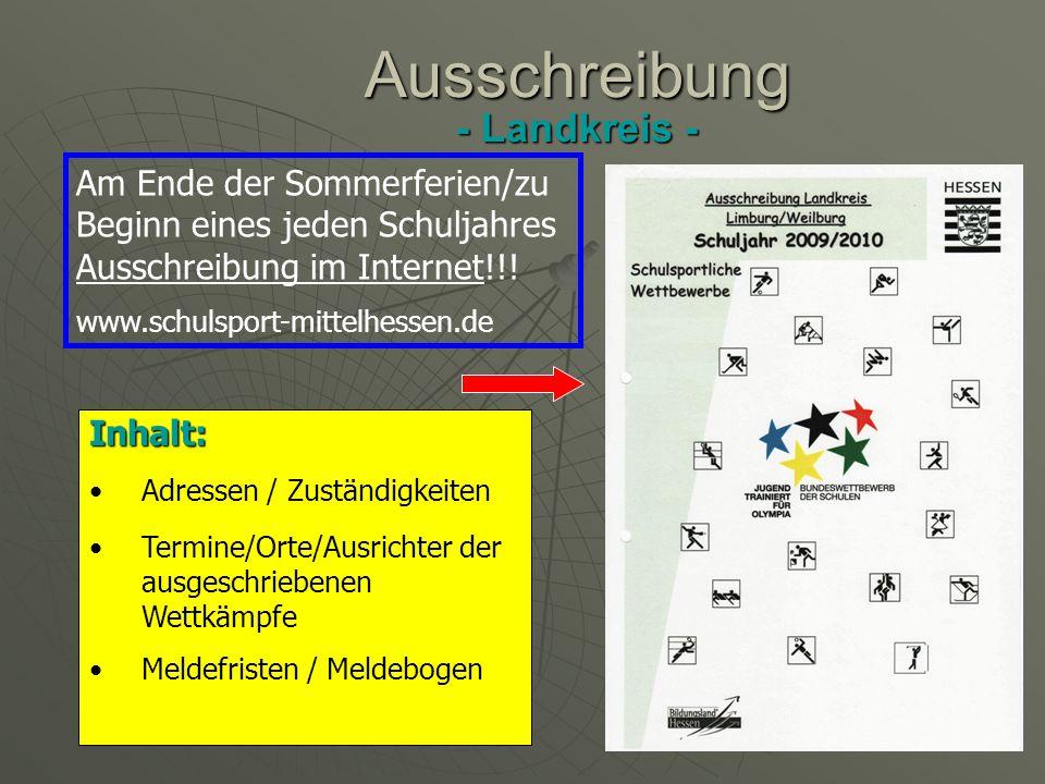 Organisation + Durchführung Kreis- bzw. Stadtentscheide Organisation + Durchführung Kreis- bzw.