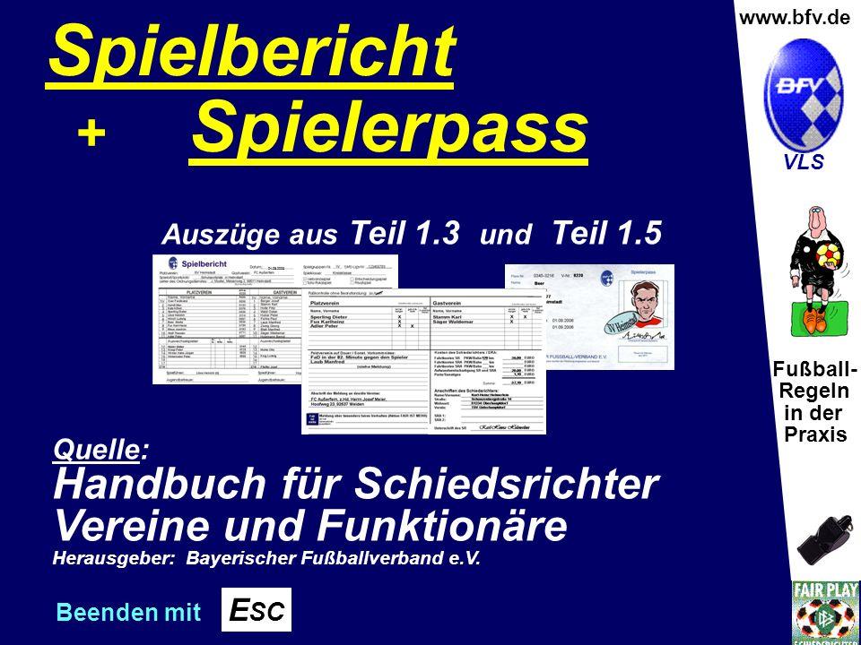 Fußball- Regeln in der Praxis Wolfgang Hauke www.bfv.de VLS Spielbericht + Spielerpass Quelle: Handbuch für Schiedsrichter Vereine und Funktionäre Herausgeber: Bayerischer Fußballverband e.V.