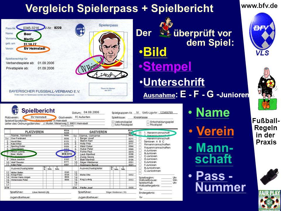 Fußball- Regeln in der Praxis Wolfgang Hauke www.bfv.de VLS Verein Mann- schaft Pass - Nummer Name Bild Stempel Unterschrift Vergleich Spielerpass + S