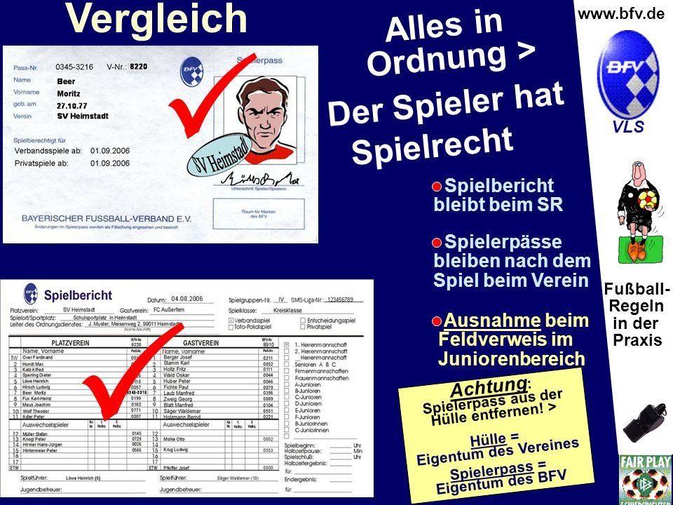 Fußball- Regeln in der Praxis Wolfgang Hauke www.bfv.de VLS Vergleich Alles in Ordnung > Der Spieler hat Spielrecht Spielbericht bleibt beim SR Spiele