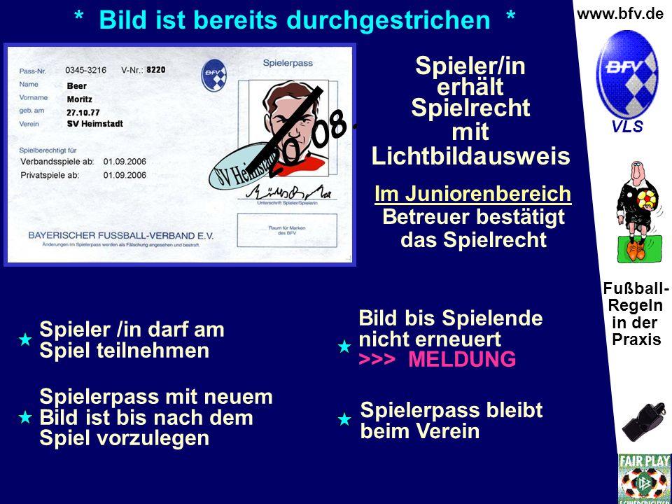 Fußball- Regeln in der Praxis Wolfgang Hauke www.bfv.de VLS * Bild ist bereits durchgestrichen * Spieler /in darf am Spiel teilnehmen Bild bis Spielen