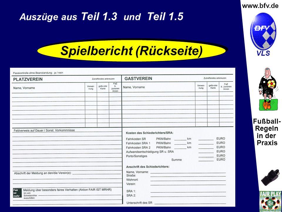 Fußball- Regeln in der Praxis Wolfgang Hauke www.bfv.de VLS Spielbericht (Rückseite) Auszüge aus Teil 1.3 und Teil 1.5