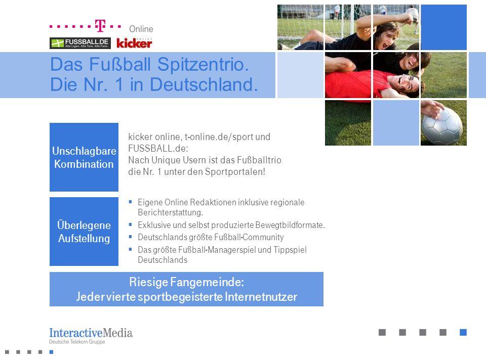Das Fußball Spitzentrio. Die Nr. 1 in Deutschland. Riesige Fangemeinde: Jeder vierte sportbegeisterte Internetnutzer Unschlagbare Kombination kicker o