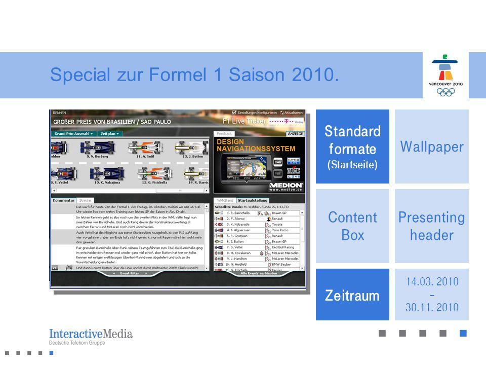 Presenting header Wallpaper Content Box Standard formate (Artikelseite) Special zur Formel 1 Saison 2010. Zeitraum 14.03. 2010 – 30.11. 2010 Standard