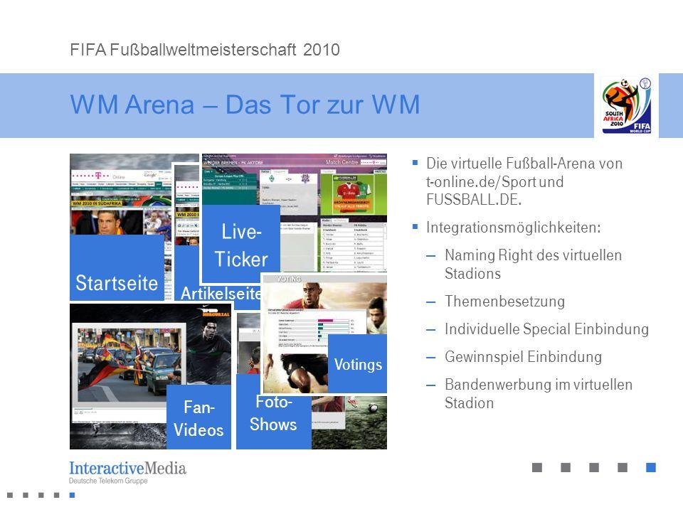 WM Arena – Das Tor zur WM Die virtuelle Fußball-Arena von t-online.de/Sport und FUSSBALL.DE. Integrationsmöglichkeiten: – Naming Right des virtuellen