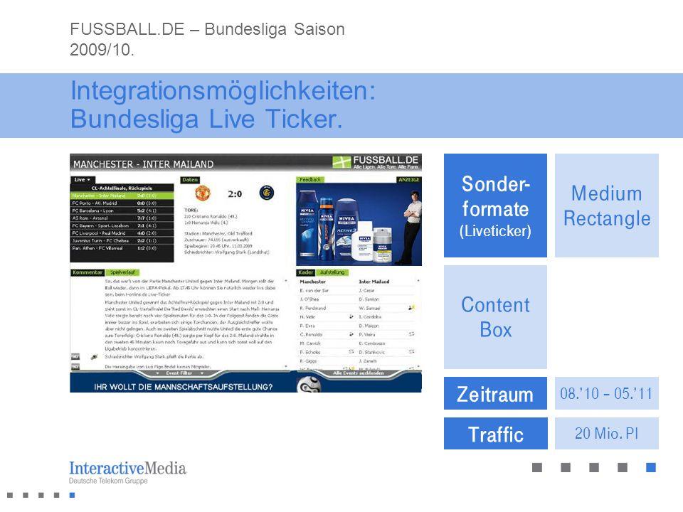 Traffic Zeitraum 08.10 – 05.11 20 Mio. PI Sonder- formate (Liveticker) Content Box Medium Rectangle Integrationsmöglichkeiten: Bundesliga Live Ticker.