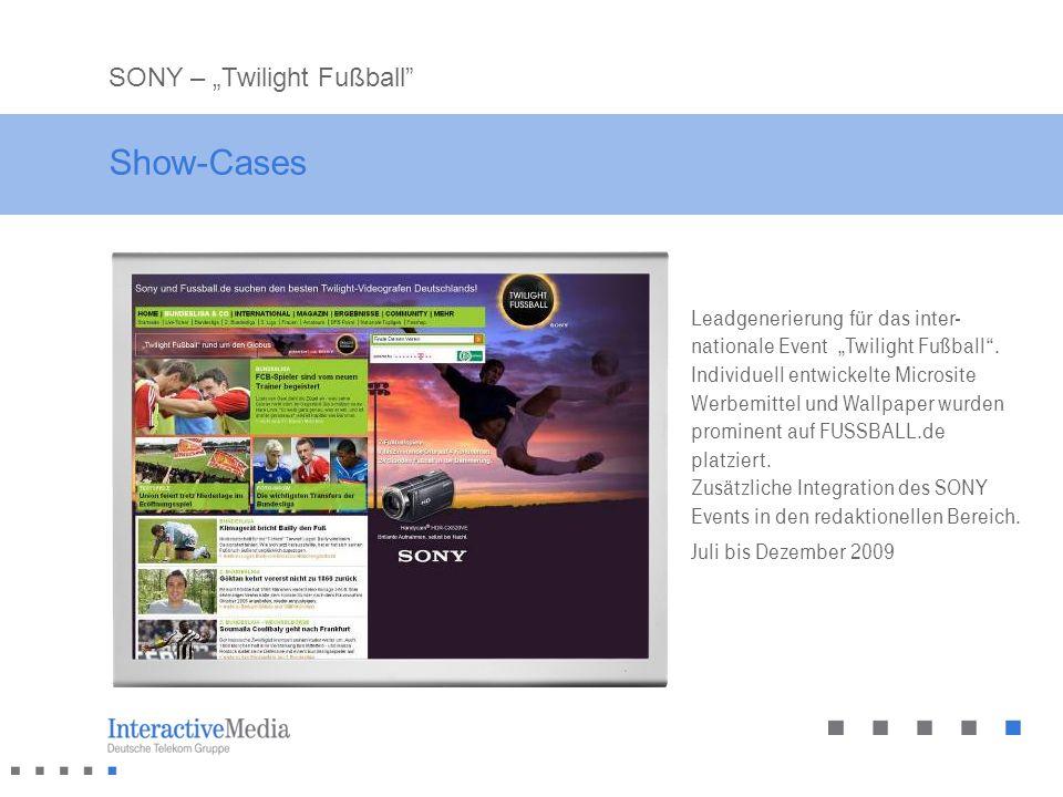 Show-Cases Leadgenerierung für das inter- nationale Event Twilight Fußball. Individuell entwickelte Microsite Werbemittel und Wallpaper wurden promine