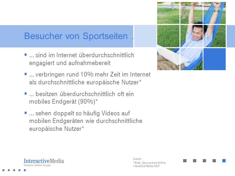 Besucher von Sportseiten … Quelle: * EIAA Sport and the Shift to Interactive Media 2008 … sind im Internet überdurchschnittlich engagiert und aufnahme