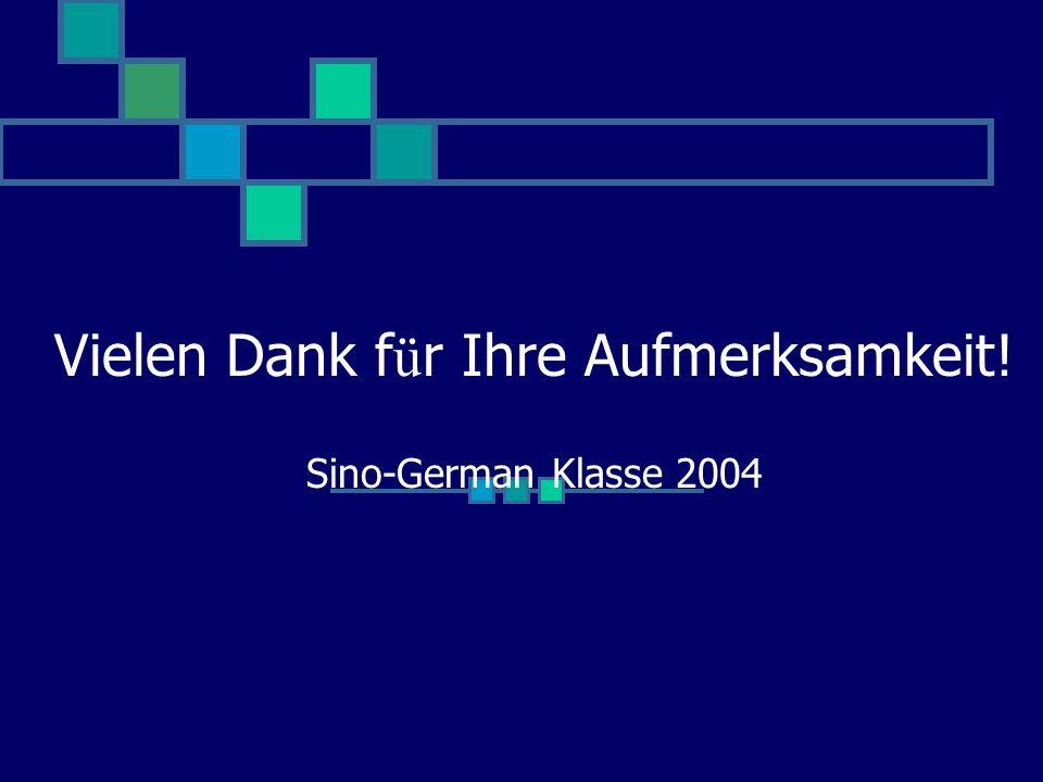 Vielen Dank f ü r Ihre Aufmerksamkeit! Sino-German Klasse 2004