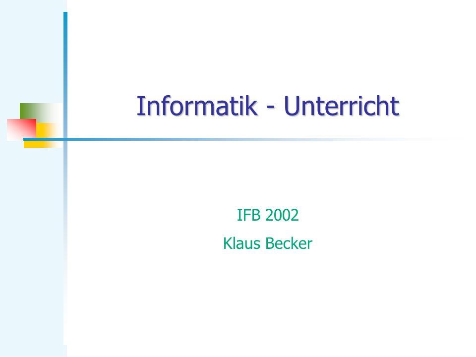 KB Informatik 12 Algorithmenorientierter Ansatz Sichtweise der Informatik (LP-RLP 83): Informatik ist die Wissenschaft von den Algorithmen, wobei die theoretischen Voraussetzungen und technischen Realisierungen eingeschlossen werden.