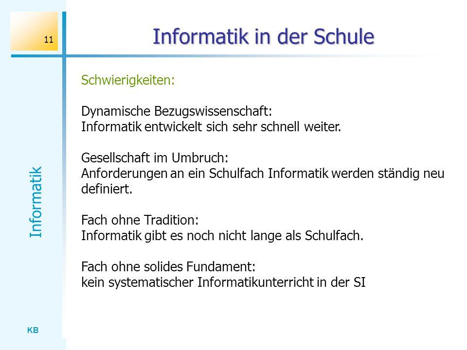 KB Informatik 11 Informatik in der Schule Schwierigkeiten: Dynamische Bezugswissenschaft: Informatik entwickelt sich sehr schnell weiter. Gesellschaft