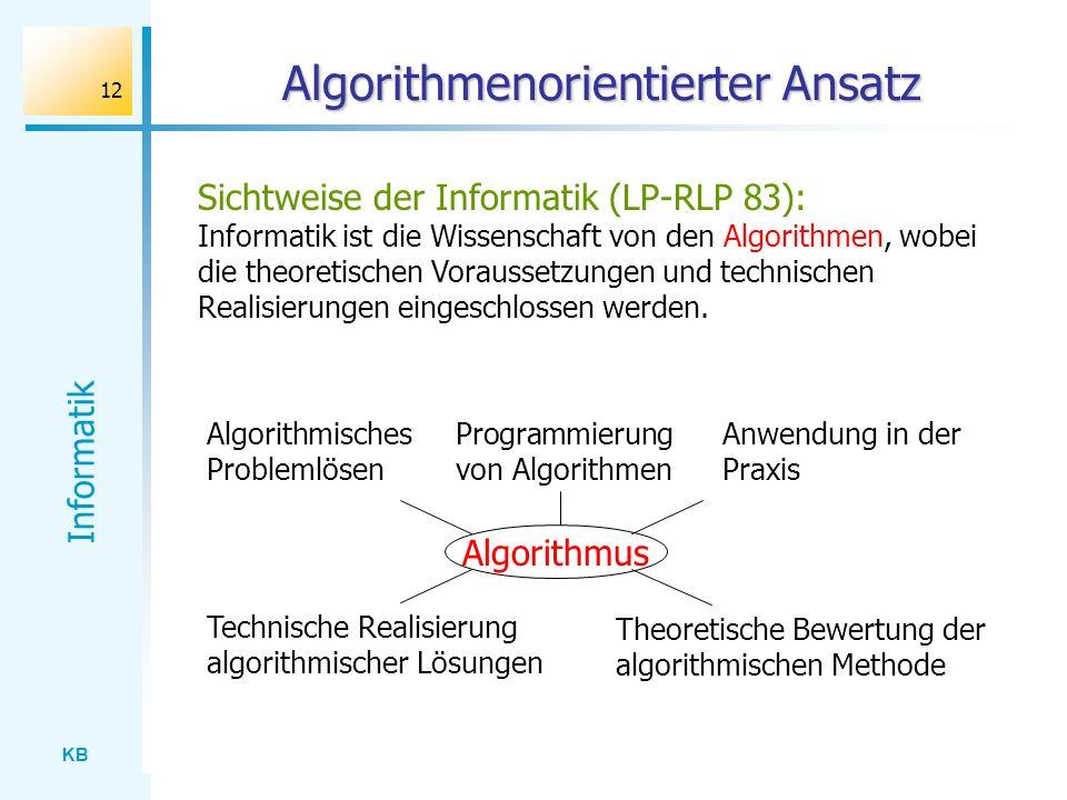 KB Informatik 12 Algorithmenorientierter Ansatz Sichtweise der Informatik (LP-RLP 83): Informatik ist die Wissenschaft von den Algorithmen, wobei die
