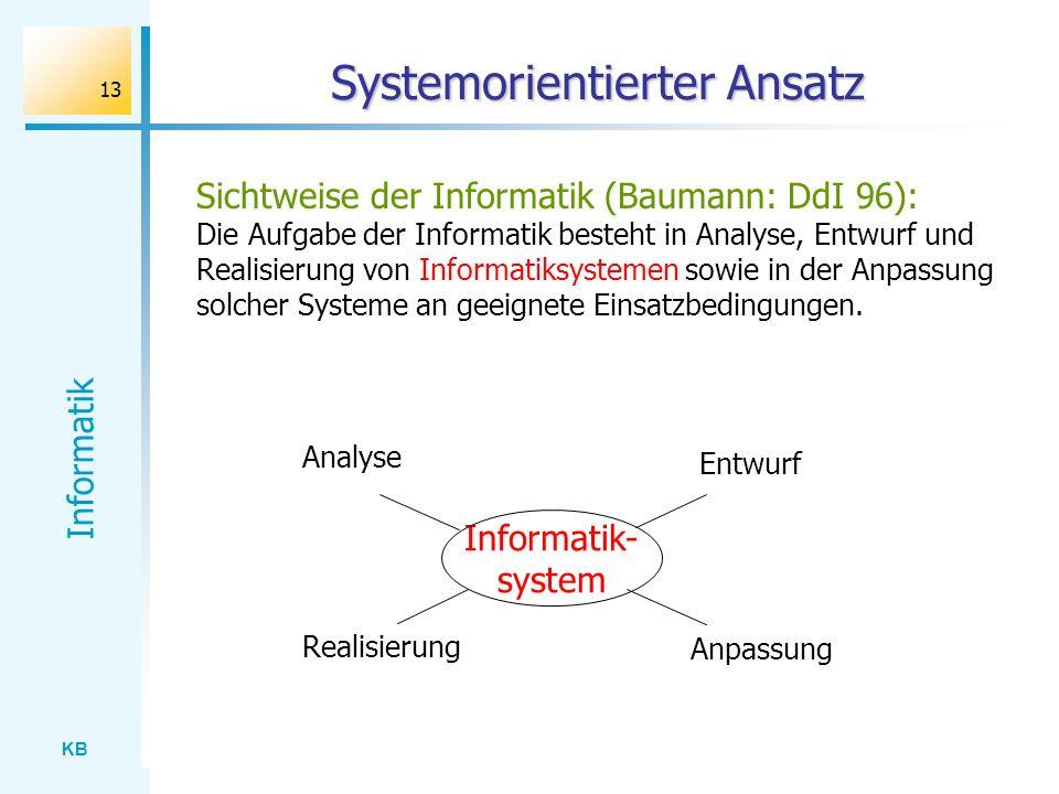 KB Informatik 13 Systemorientierter Ansatz Sichtweise der Informatik (Baumann: DdI 96): Die Aufgabe der Informatik besteht in Analyse, Entwurf und Rea