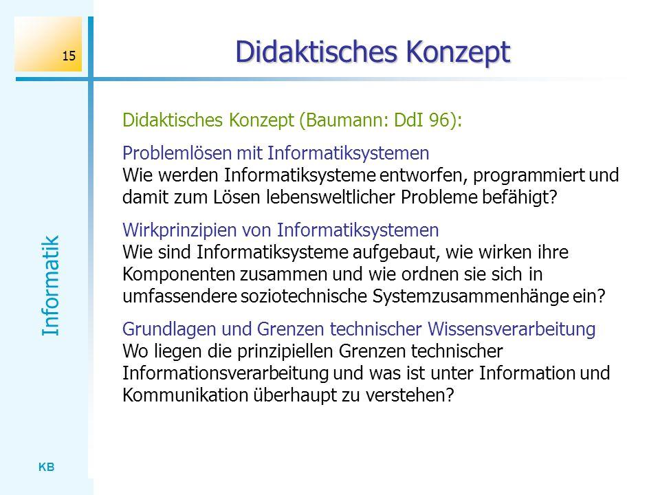 KB Informatik 15 Didaktisches Konzept Didaktisches Konzept (Baumann: DdI 96): Problemlösen mit Informatiksystemen Wie werden Informatiksysteme entworf