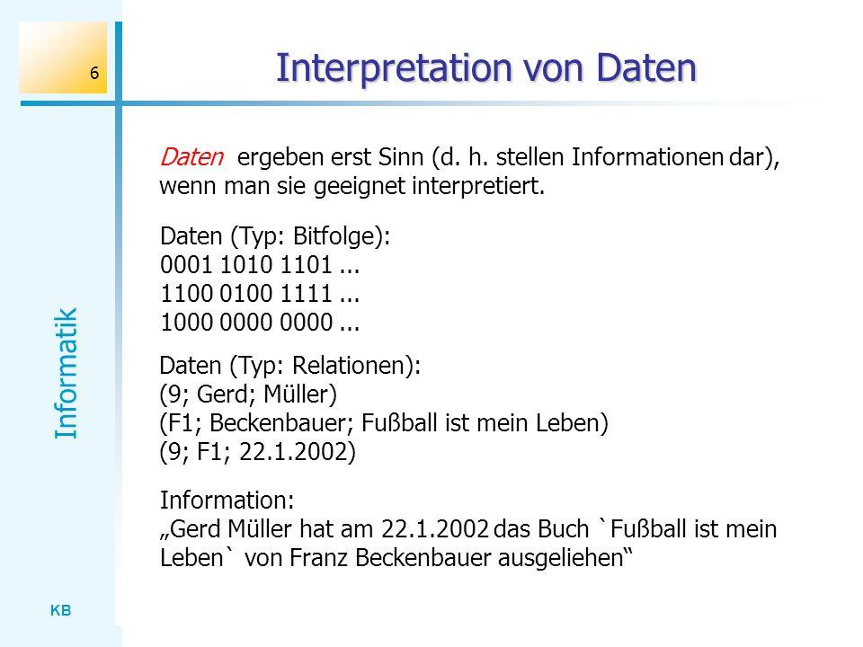 KB Informatik 6 Interpretation von Daten Daten ergeben erst Sinn (d. h. stellen Informationen dar), wenn man sie geeignet interpretiert. Information: