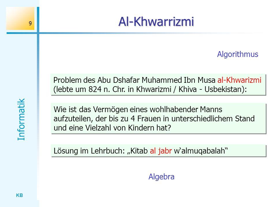 KB Informatik 9 Al-Khwarrizmi Problem des Abu Dshafar Muhammed Ibn Musa al-Khwarizmi (lebte um 824 n. Chr. in Khwarizmi / Khiva - Usbekistan): Lösung