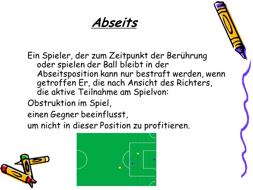 Abseits Ein Spieler, der zum Zeitpunkt der Berührung oder spielen der Ball bleibt in der Abseitsposition kann nur bestraft werden, wenn getroffen Er,