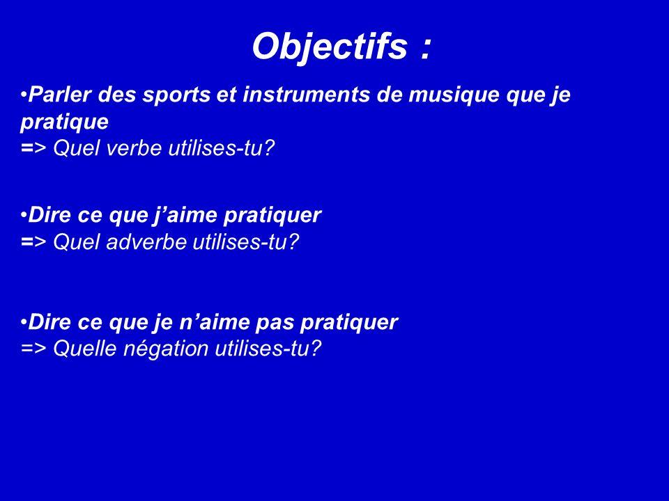 Objectifs : Parler des sports et instruments de musique que je pratique => Quel verbe utilises-tu.