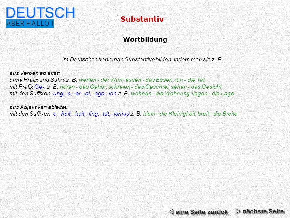 Substantiv DEUTSCH Im Deutschen kann man Substantive bilden, indem man sie z. B. aus Verben ableitet: ohne Präfix und Suffix z. B. werfen - der Wurf,