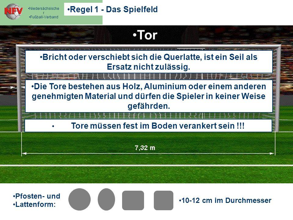 Regel 1 - Das Spielfeld Niedersächsische r Fußball-Verband Strafraum - Maß e Tor Strafraum - Maß e Tor Pfosten- und Lattenform: 10-12 cm im Durchmesse