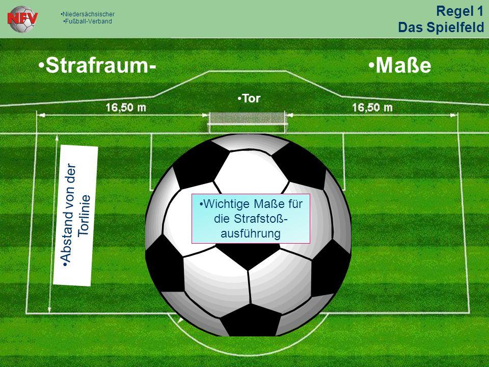 Strafraum-Maße Abstand von der Torlinie Tor Wichtige Maße für die Strafstoß- ausführung Regel 1 Das Spielfeld Niedersächsischer Fußball-Verband