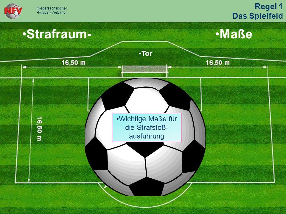 Strafraum-Maße Tor Wichtige Maße für die Strafstoß- ausführung Regel 1 Das Spielfeld Niedersächsischer Fußball-Verband